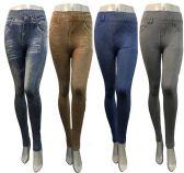 24 Units of Wholesale Faded Denim Printed Full Length Leggings - Womens Leggings