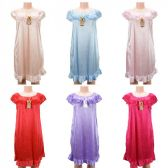 24 Units of Wholesale Women Pajama Night Gown Short Sleeve Assorted Colors - Night Gown & Dorm Shirts