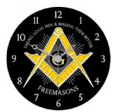 "4 Units of 13"" diameter wooden Masonic clock, ""Taking Good Men & Making Them Better - Freemasons - Clocks"