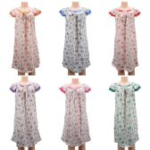 24 Units of Women Pajama Night Gown Small Flower Print Short Sleeve - Women's Pajamas and Sleepwear