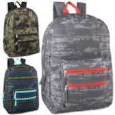 "24 Units of 18 Inch Graphic Backpack With Double Front Pocket - Assorted Boy Colors - Backpacks 18"" or Larger"