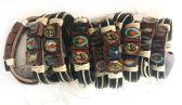 24 Units of Wholesale Faux Leather Adjustable Bracelet with Religious Figures - Bracelets