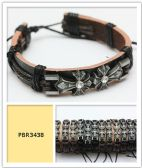 60 Units of Wholesale Leather Bracelet Dual Crosses with Rhinestone Center - Necklace