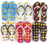 96 Units of Women's Flip Flops - Emoji Prints - Women's Flip Flops