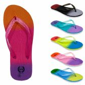 72 Units of Women's Flip Flops wieth/ Dual Layer Heel & Sparkle Straps - Rainbow Print - Women's Flip Flops