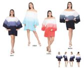 48 Units of Women's Rayon Off Shoulder Dresses with Bell Sleeves - Assorted Colors - One Size Fits Most - Womens Sundresses & Fashion