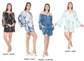 48 Units of Women's Tie Dye Rayon Romper with Bell Sleeves - Assorted Colors - Size Small-XL - Womens Sundresses & Fashion