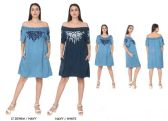 48 Units of Women's Denim Rayon Off Shoulder Dresses with Side Pockets - Assorted Colors - Size Small-XL - Womens Sundresses & Fashion