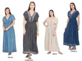 48 Units of Women's Denim Maxi Dresses with Accent Stitching - Assorted Colors - Size Small-XL - Womens Sundresses & Fashion