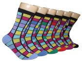 360 Units of Women's Novelty Crew Socks - Striped Print - Size 9-11 - Womens Crew Sock
