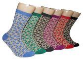 360 Units of Women's Novelty Crew Socks - Tritone Pattern - Size 9-11 - Womens Crew Sock