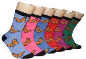 360 Units of Women's Novelty Crew Socks - Butterfly Print - Size 9-11 - Womens Crew Sock
