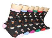 360 Units of Women's Novelty Crew Socks - Coffee Print - Size 9-11 - Womens Crew Sock