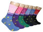 360 Units of Women's Novelty Crew Socks - Duck Print - Size 9-11 - Womens Crew Sock