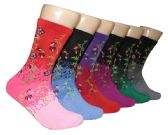 360 Units of Women's Novelty Crew Socks - Floral Print - Size 9-11 - Womens Crew Sock