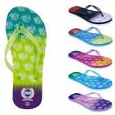 75 Units of Women's Flip Flops with/ Dual Layer Heel & Sparkle Straps - Apple Print - Women's Flip Flops