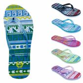 75 Units of Women's Flip Flops with/ Dual Layer Heel & Sparkle Straps - Tribal Print - Women's Flip Flops