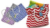 72 Units of Beach Bags - Wavy Prints - Tote Bags & Slings