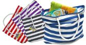 72 Units of Beach Bags - Striped Prints - Tote Bags & Slings