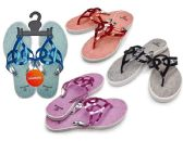 48 Units of Women's T-Strap Sandals with/ Matallic Straps - Assorted Colors - Women's Flip Flops