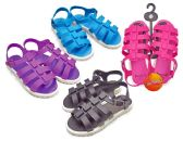 48 Units of Girl's Gladiator Sandals w/ Side Buckle - Assorted Colors - Girls Sandals