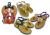 48 Units of Girl's Sandals with/ Side Strap & Flower Adornment - Assorted Colors - Girls Sandals