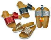 48 Units of Women's Slide Sandals with/ Metallic Straps - Assorted Colors - Womens Sandals