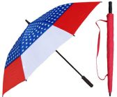 "3 Units of 60"" USA American Flag Print Wind Buster Golf Umbrellas with/ Foam Handle - Umbrella"