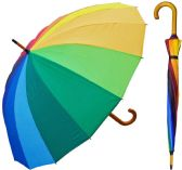 "6 Units of 48"" Auto-Open 16-Panel Rainbow Umbrellas with/ Wood Handle & Shaft - Umbrella"