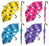 "6 Units of 48"" Auto-Open Polka Dot Doorman Umbrellas with/ Hook Handle - Umbrella"