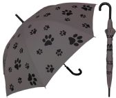 "6 Units of 48"" Auto-Open Paw Print Doorman Umbrellas with/ Hook Handle - Umbrella"