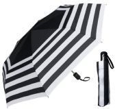 "6 Units of 44"" Auto-Open/Close Black & White Stripe Print Super Mini Umbrellas - Umbrella"