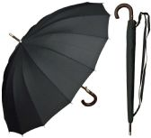 "6 Units of 46"" Auto-Open Black 16-Panel Umbrellas with/ Wood Hook Handle - Umbrella"