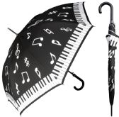 "12 Units of 46"" Auto-Open Piano Key Music Print Doorman Umbrellas with/ Hook Handle - Umbrella"