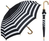 "6 Units of 48"" Auto-Open Black & White Stripe Print Doorman Umbrellas w/ Wood Hook Handle - Umbrella"