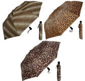 "6 Units of 44"" Auto-Open/Close Deluxe Super Mini Umbrellas - Assorted Cheetah/Leopard/Jaguar Prints - Umbrella"