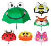 "12 Units of 36"" Boy's & Girl's 3D Pop-Up Animal Umbrellas - Assorted Styles - Umbrella"
