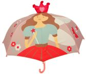 "6 Units of 37"" Girl's 3D Pop-Up Princess Umbrellas - Umbrella"