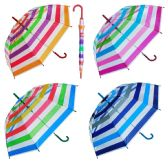 "8 Units of 46"" Auto-Open Clear Dome Umbrellas in Assorted Striped Prints - Umbrella"