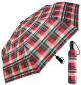 "12 Units of 43"" Auto-Open/Close Super Mini Umbrellas - Assorted Plaid Prints - Umbrella"