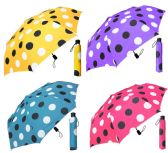 "12 Units of 44"" Auto-Open Super Mini Umbrellas - Assorted Polka Dot Prints - Umbrella"