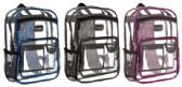 "24 Units of 16"" Clear Backpacks - Double Compartments - Backpacks 16"""