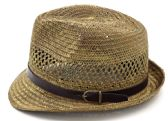 24 Units of Fedora Sun Hats with/ Leather Belt Accent - One Size Fits Most - Fedora Hat/Driver Cap/ Ivy Cap/Visor