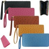 36 Units of Women's Faux Ostrich Wallets with/ Wristlet - Assorted Colors - Leather Purses and Handbags