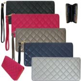 36 Units of Women's Quilted Faux Leather Wallets with/ Wristlet - Leather Purses and Handbags