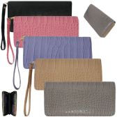 36 Units of Women's Trendy Wallets with/ Wristlet - Crocodile Prints - Leather Purses and Handbags