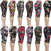 48 Units of Women's Capri Leggings - Floral Prints - One Size Fits Most - Womens Leggings