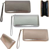 36 Units of Metallic Faux Leather Wallets with/ Removable Wristlet - Wallets