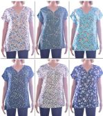 72 Units of Women's Fashion Tops with/ Front Zipper - Floral Prints - Sizes Medium-XXL - Womens Fashion Tops