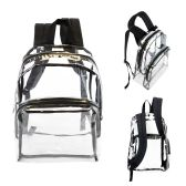 "24 Units of 17"" Clear Backpacks with Black Trim - Backpacks 17"""